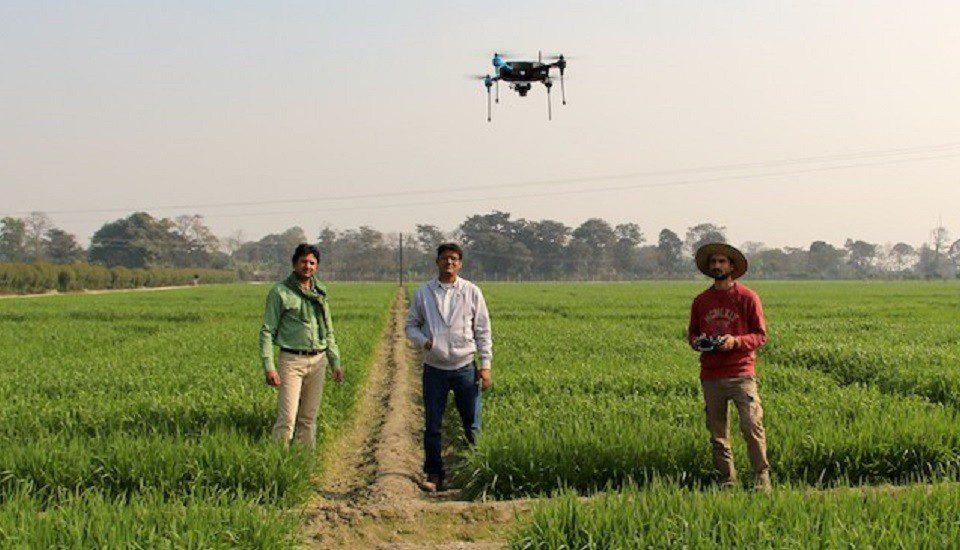 Testing a drone over wheat fields in Pusa, Bihar. (Photo by Manish Kumar)