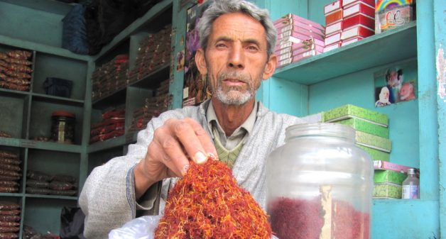 Noor Mohammad grows and sells saffron. (Photo by Athar Parvaiz)