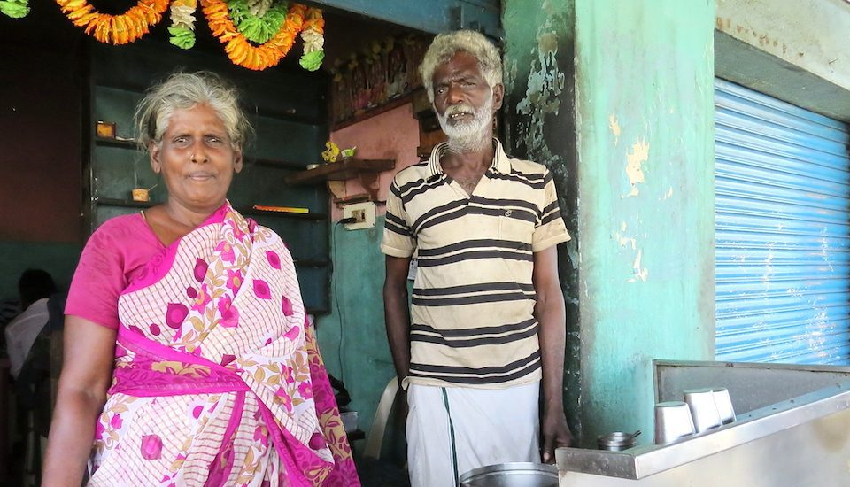 Turnover for the Dharmaraj couple of Valarpuram village, who run a small tea stall, has halved after the demonetization announcement. (Photo by Jency Samuel)