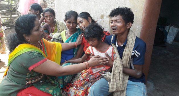 Sudarshan Padiami of Daniguda village lost two children to Encephalitis. (Photo by Basudev Mahapatra)