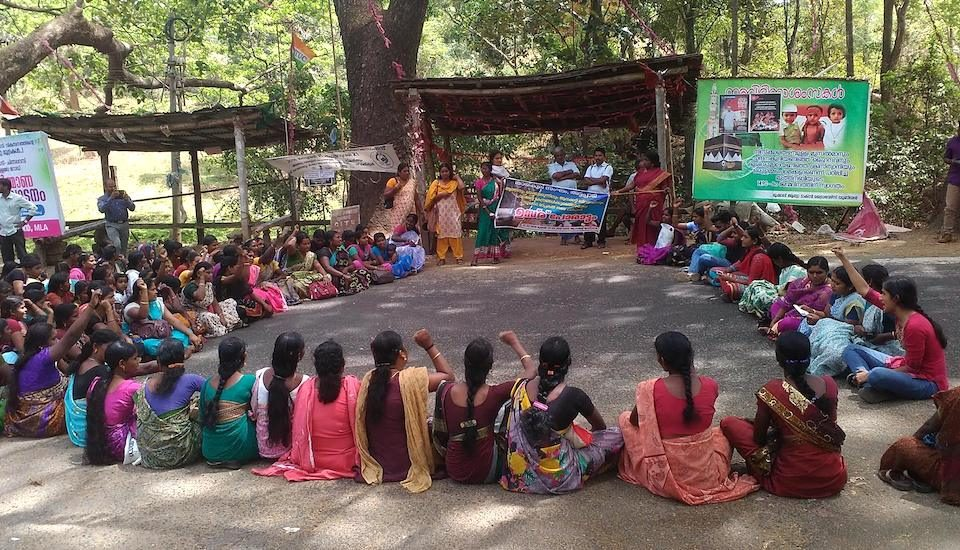 Women of Attappadi at a sit-in protest against alcoholism.