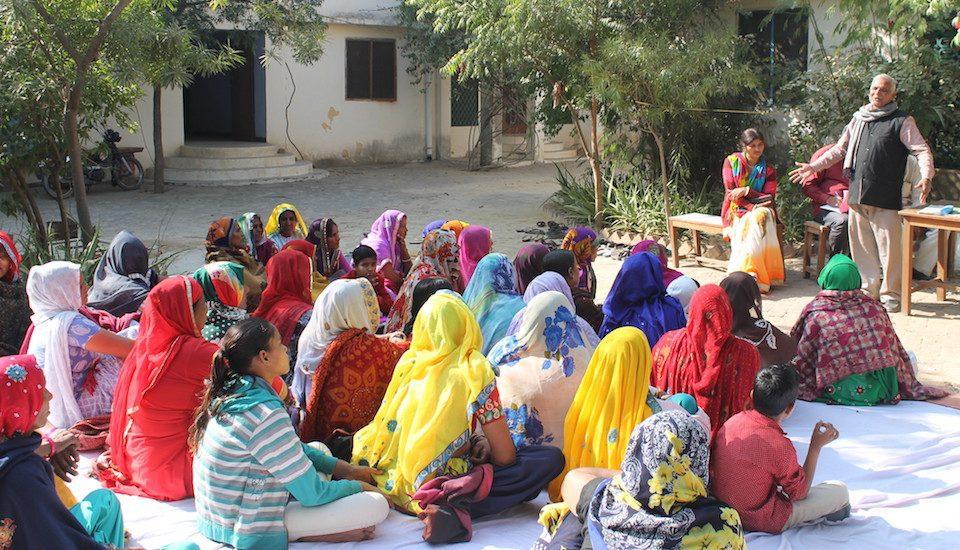 A women's workshop on cleanliness in progress in Majra village. (Photo by Tarun Kanti Bose)