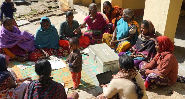 Babli Karmakar in the stormy meeting of women's SHG at Hessar village. (Photo by Alok Gupta)