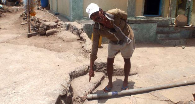A pipeline to carry water lies unused in a village on Elephanta Island. (Photo by Gajanan Khergamker)