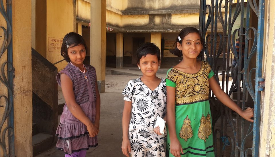 The confident children of Bamuha village in Murshidabad district welcome visitors to their school. (Photo by Chhandosree)
