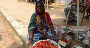 Howsaben Waghmare selling strawberries at Saputara. (Photo by Gajanan Khergamker)