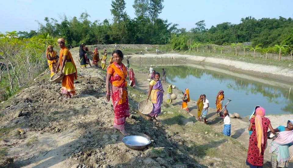 Farm ponds to harvest and store rainwater could be an optimal solution in some places. (Photo by Aftab Alam)