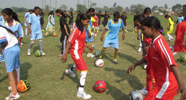 Village girls in Bihar have started playing football to fight against child marriage. (Photo by Mohd Imran Khan)