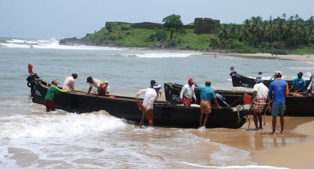 Fishing in the Arabian Sea in small boats during the rainy season can be extremely hazardous. (Photo by Frank Raj)
