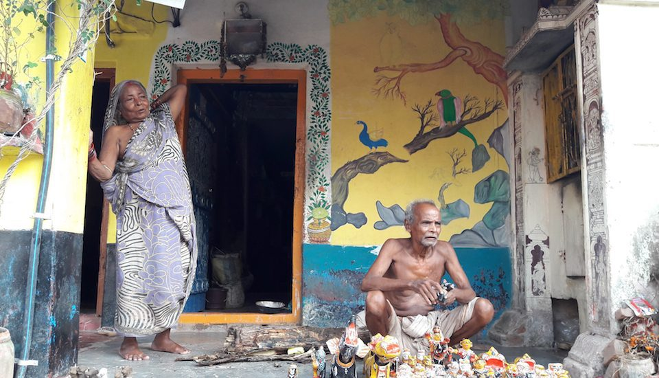 A toy maker and his wife in Raghurajpur village in Odisha. (Photo by Jael Silliman)