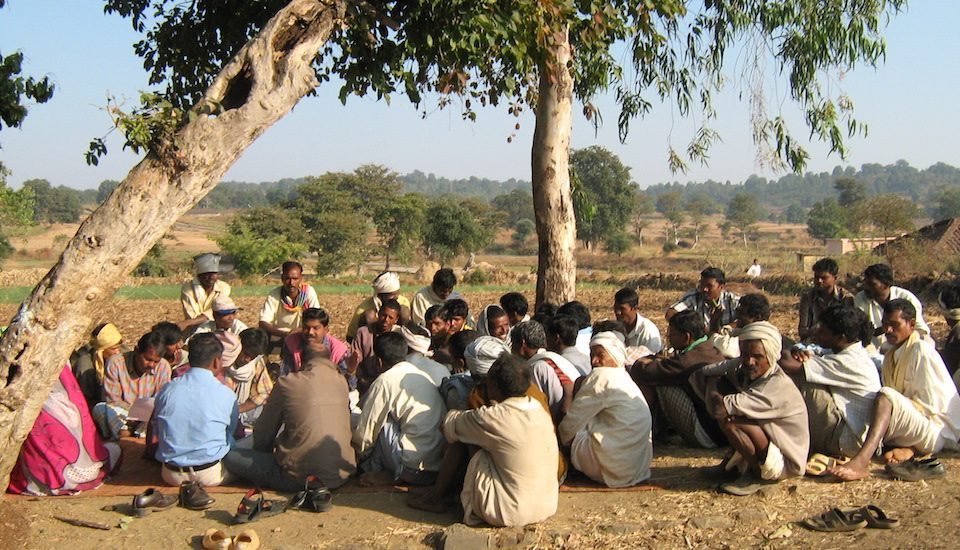 A village council meeting being held in Barkheda village to discuss community issues. (Photo by Ishan Agrawal)