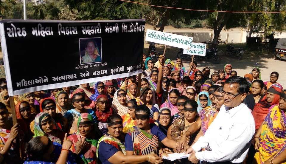Protesting against the sexual assault and death of a woman, women of self-help groups brought the issue to the police when no one else dared to, and ensured the capture of perpetrators. (Photo by Coastal Salinity Prevention Cell)