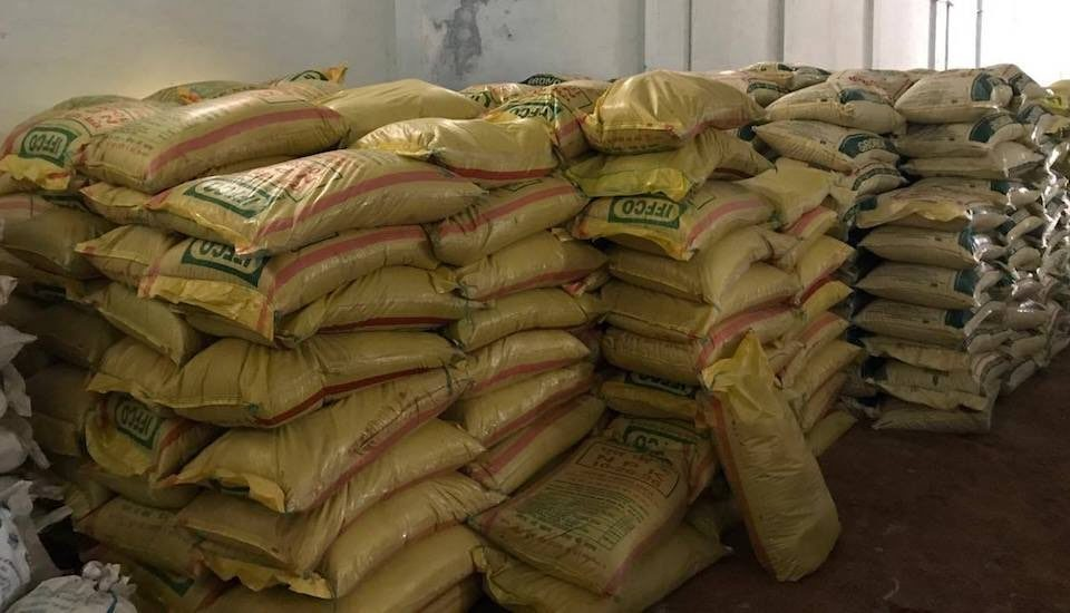 Fertilizer bags stacked in a warehouse in Andhra Pradesh. (Photo by Bikalp Chamola)