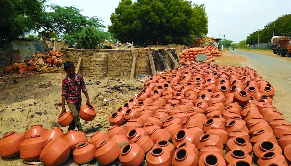 Pots on display for sale at Sarkhej Roza. (Photo by Gajanan Khergamker)