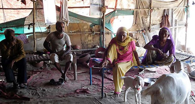 Potter Rehman Sumra (second from left) in Sarkhej Roza with his family. (Photo by Gajanan Khergamker)