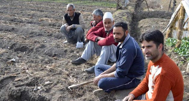 Vegetable farmers in Budgam district taking a break from farming activities. (Photo by Athar Parvaiz)