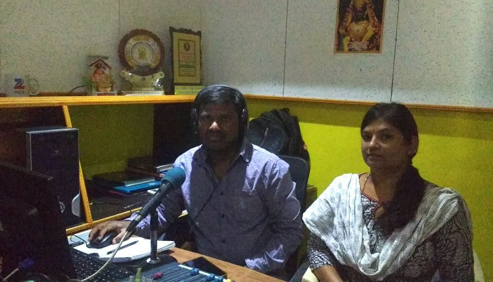 Sunil and Nagamani at the Sarathi Jhalak radio station during a program. (Photo by Sudha Narasimhachar)