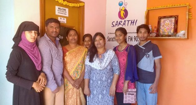 The team at Sarathi Jhalak community radio station that empowers and entertains residents of 250 villages. (Photo by Sudha Narasimhachar)