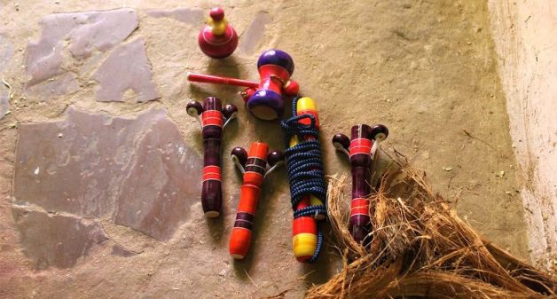 Traditional wooden toys of Chitrakoot hardly have any takers nowadays. (Photo by Jigyasa Mishra)
