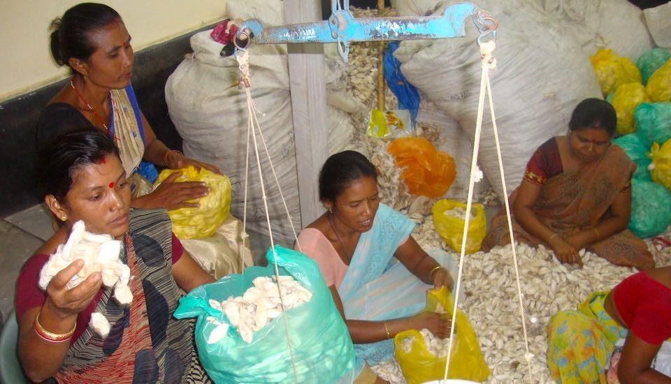 Streamlining Eri silk weaving has helped women weavers earn a livelihood using their traditional skills. (Photo by Grameen Sahara)