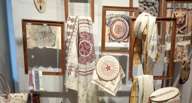 Embroidery done on modern mediums displayed as an art installation at an exhibition of Kantha work in Kolkata. (Photo by Dhruba Das Gupta)