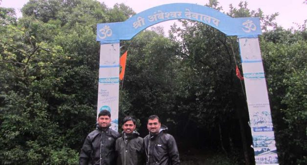 The Vanrakshak Social Force team at the entrance of the sacred grove. Photo credit: Nivedita Khandekar