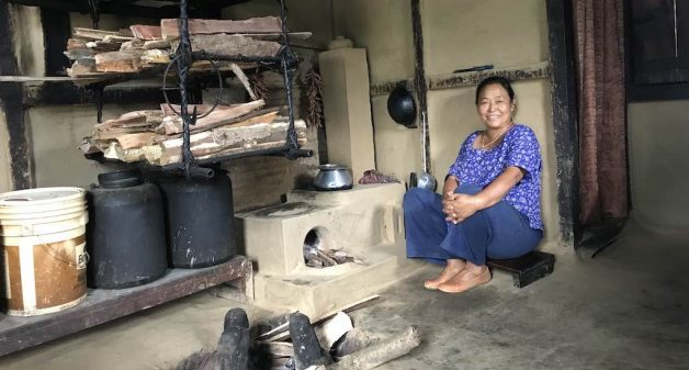 Anita Rai, a resident of Talkharka village, says the new stoves are more efficient (Photo by Nidhi Jamwal)