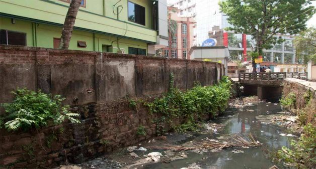 With hotels and restaurants in Guruvayur dumping waste and letting raw sewage, the natural channels have been reduced to sewage lines (Photo by Arun P.J.)