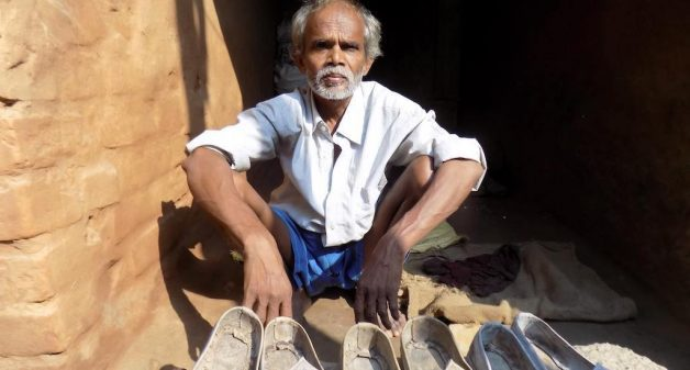 Made of leather manually, the Chamarkhani shoes face stiff competition from lower priced artificial leather shoes (Photo by Mohd Imran Khan)