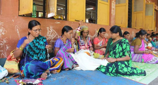 Lambani tribal women of Sandur in Karnataka, make a livelihood out of their traditional embroidery. (Photo by Amoolya Rajappa)
