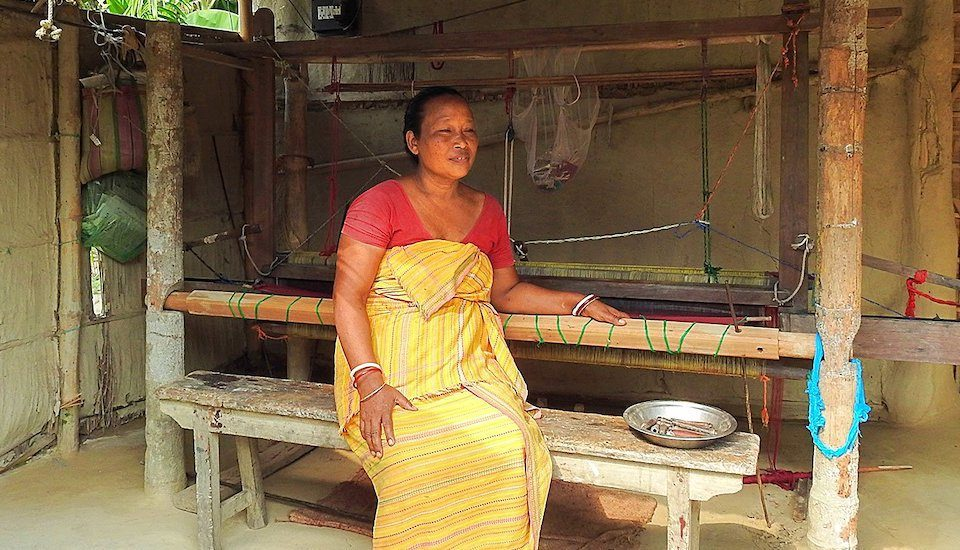 Many Bodo women like Sama Brahma are keeping the traditional skill of handloom weaving alive (Photo by Anne Pinto-Rodrigues)