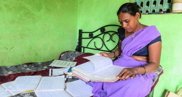 Paperwork is part of an ASHA worker's tasks, and they often bear the costs of stationery and photocopying (Photo by PARI)