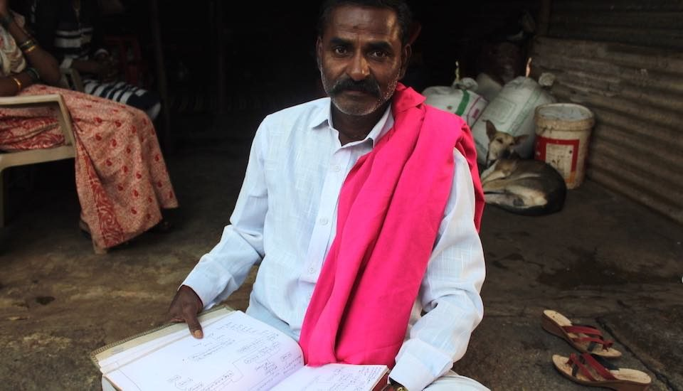 Lakshman Helavar, a traditional chronicler of family histories, with his carefully preserved genealogical records (Photo by Amoolya Rajappa)
