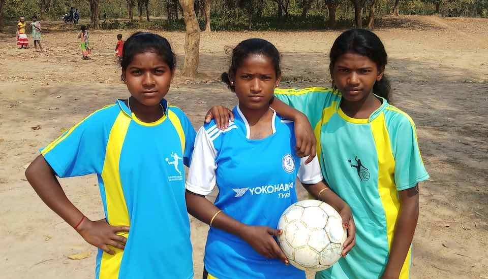 Teenaged Santhal girls Bitti Mardi, Malati Hansda and Arpita Murmu have taken to football, defying traditions and opposition, hopeful of a better future (Photo by Gurvinder Singh)