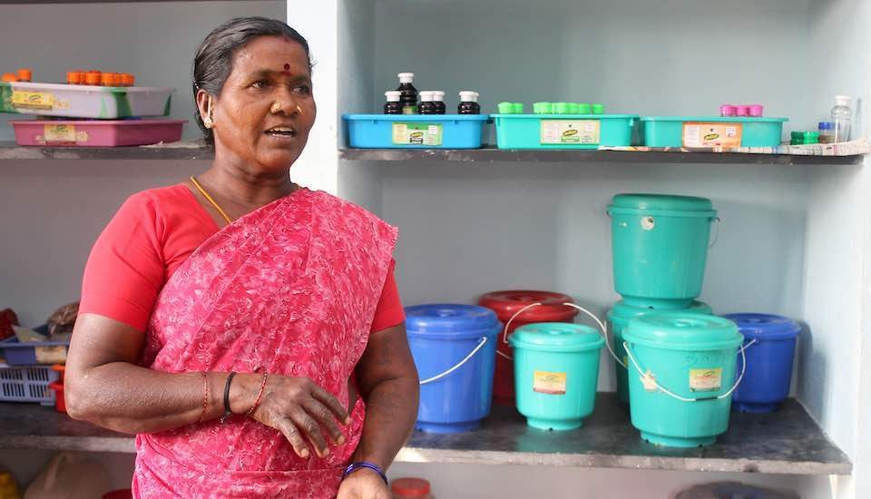 Women such as Mallika gave up farm labor work to turn entrepreneurs to revive traditional knowledge and regular use of herbs (Photo by Balasubramaniam N.)