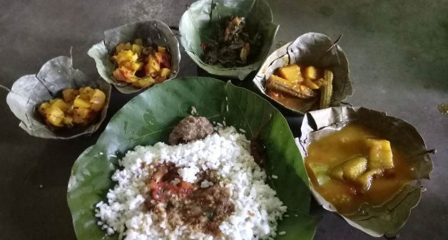A variety of vegetables and greens from a single nutrition garden in the food, such as the one served at Ratanpur village, ensures nutrition security (Photo by Basudev Mahapatra)