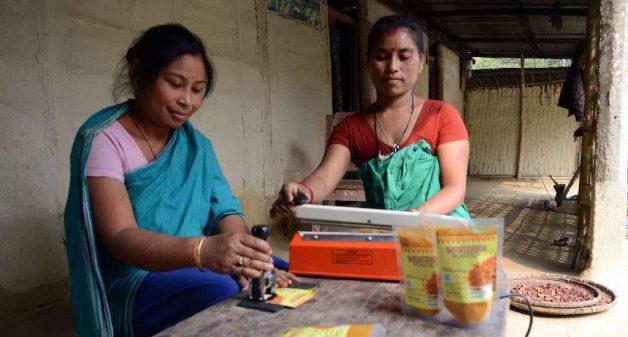 Grinding and selling turmeric powder has become a good alternate livelihood for Kamini Rai and her neighbors (Photo by Abdul Gani)