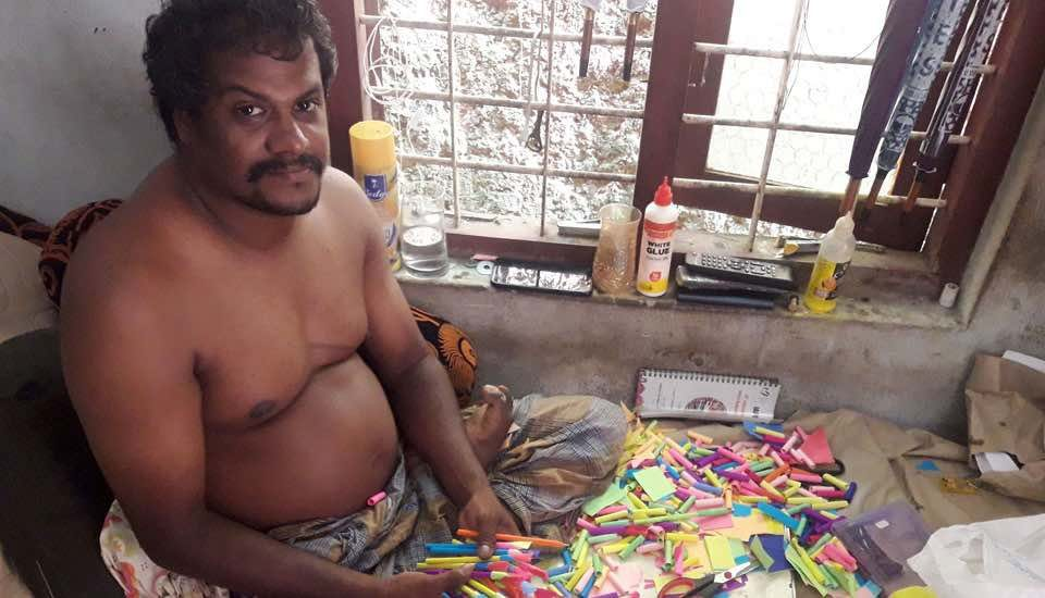 Seed pens, while helping reduce plastic waste, provide the physically challenged with a home-based livelihood (Photo by K. Rajendran)