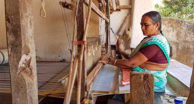 Jaya Mani is one of the few women in Kuthampully who still weaves (Photo by Remya Padmadas)