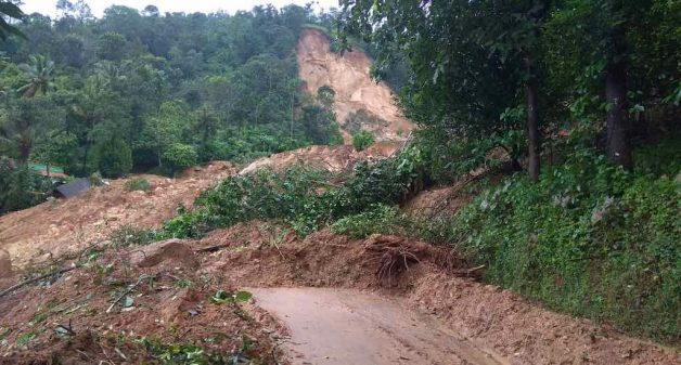 Debris from last year's damaging landslide has not been cleared yet (Photo by K. Rajendran)