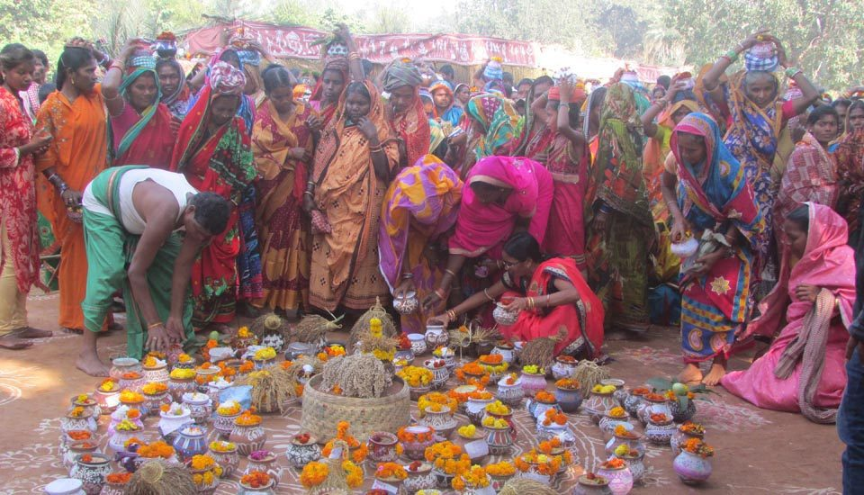 Women who had conserved and preserved indigenous seed varieties brought the same to the festival that encouraged them to revive agricultural biodiversity (Photo by Rakhi Ghosh)